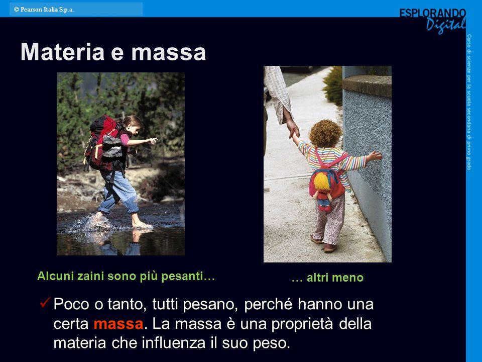 © Pearson Italia S.p.a. Materia e massa. Per l'insegnante: