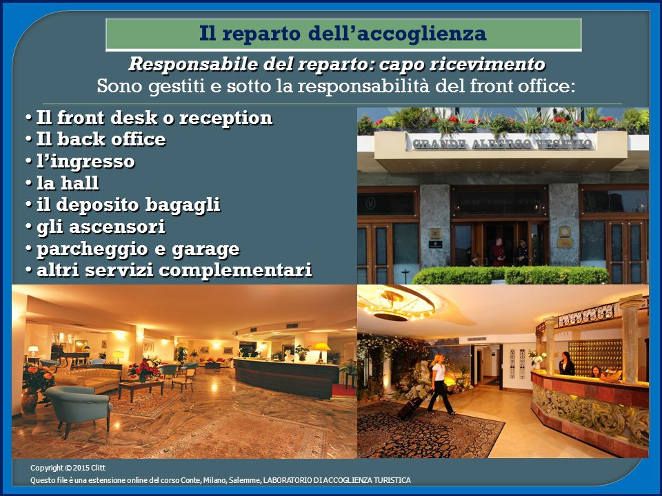 I reparti dell albergo ppt video online scaricare for Piani di mudroom del garage