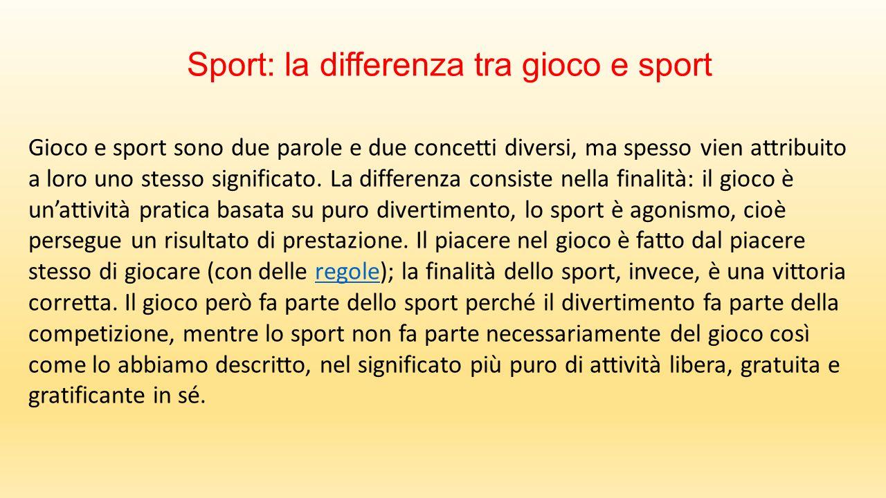 Sport: la differenza tra gioco e sport