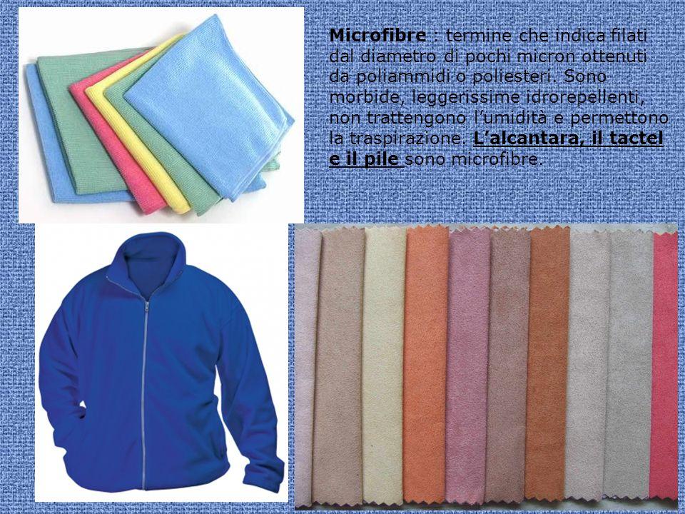 Microfibre : termine che indica filati dal diametro di pochi micron ottenuti da poliammidi o poliesteri.