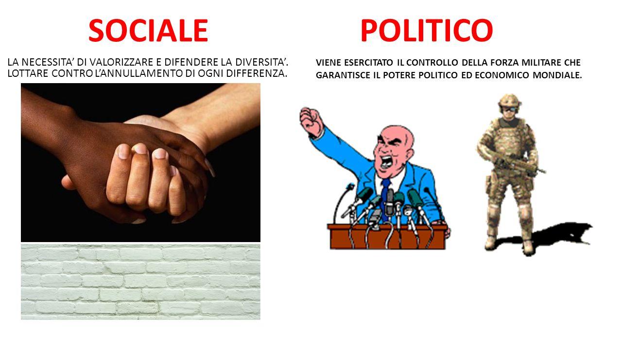 POLITICO SOCIALE. LA NECESSITA' DI VALORIZZARE E DIFENDERE LA DIVERSITA'. LOTTARE CONTRO L'ANNULLAMENTO DI OGNI DIFFERENZA.