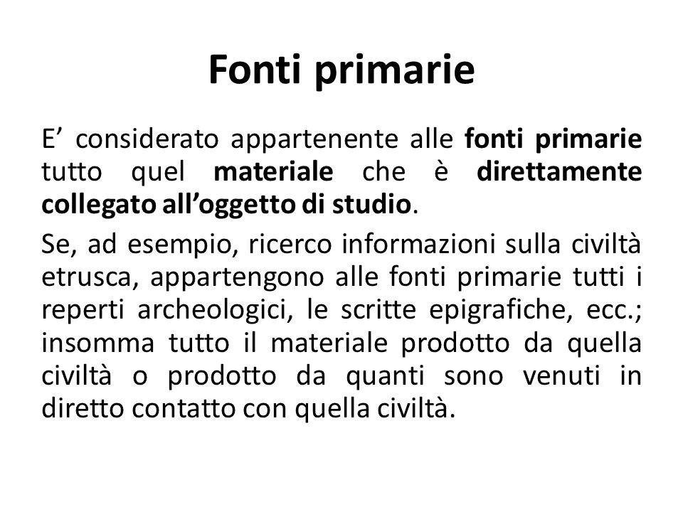 Fonti primarie
