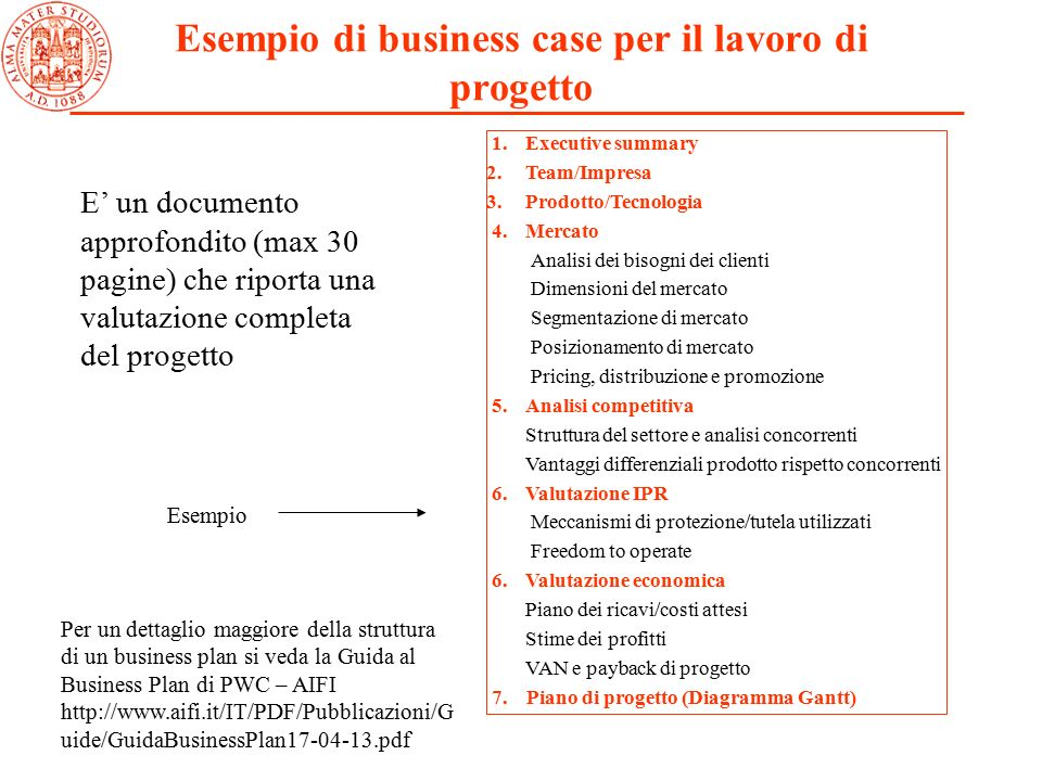 Business plan parte numerica