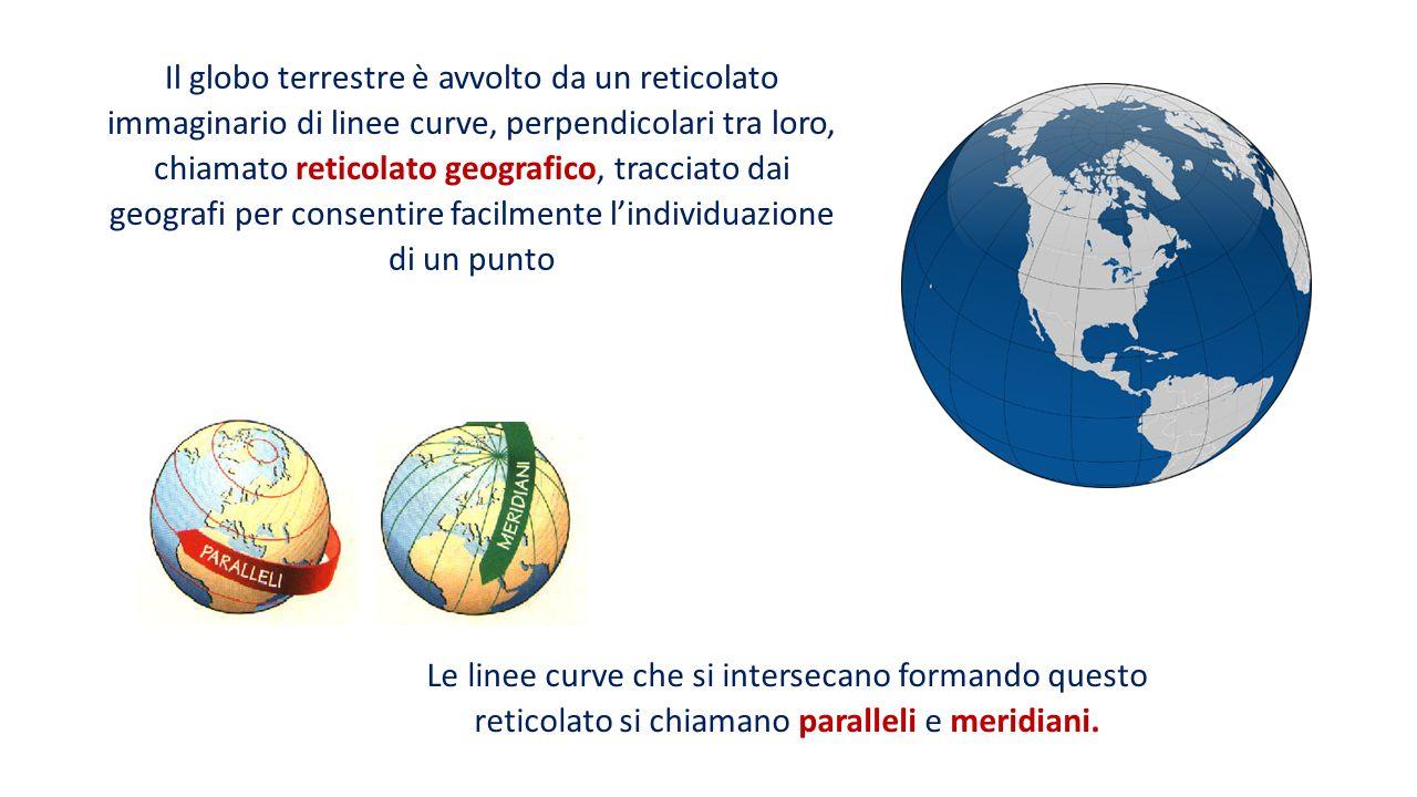 Il globo terrestre è avvolto da un reticolato immaginario di linee curve, perpendicolari tra loro, chiamato reticolato geografico, tracciato dai geografi per consentire facilmente l'individuazione di un punto