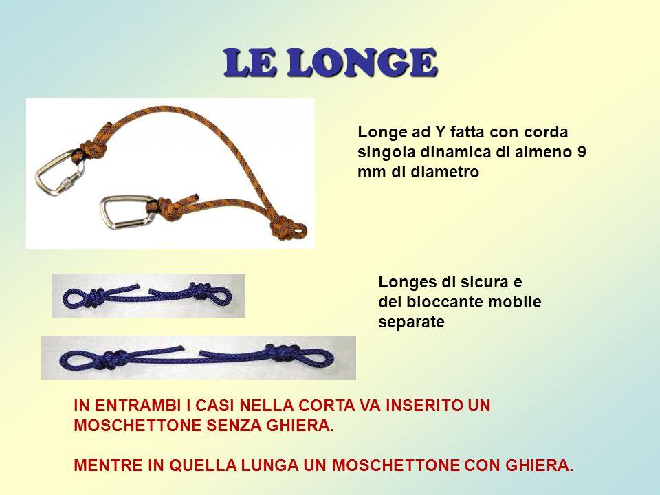 LE LONGE Longe ad Y fatta con corda singola dinamica di almeno 9 mm di diametro. Longes di sicura e.