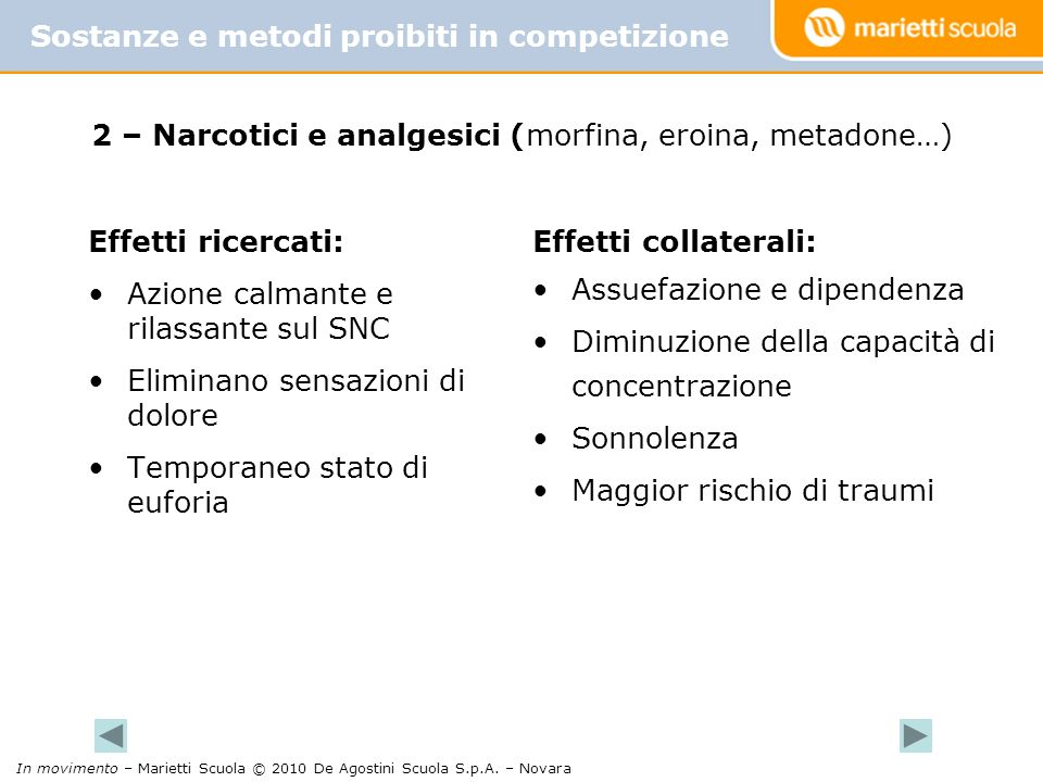 2 – Narcotici e analgesici (morfina, eroina, metadone…)