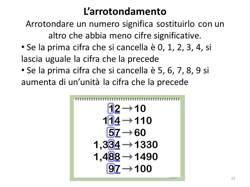 L'arrotondamento Arrotondare un numero significa sostituirlo con un altro che abbia meno cifre significative.