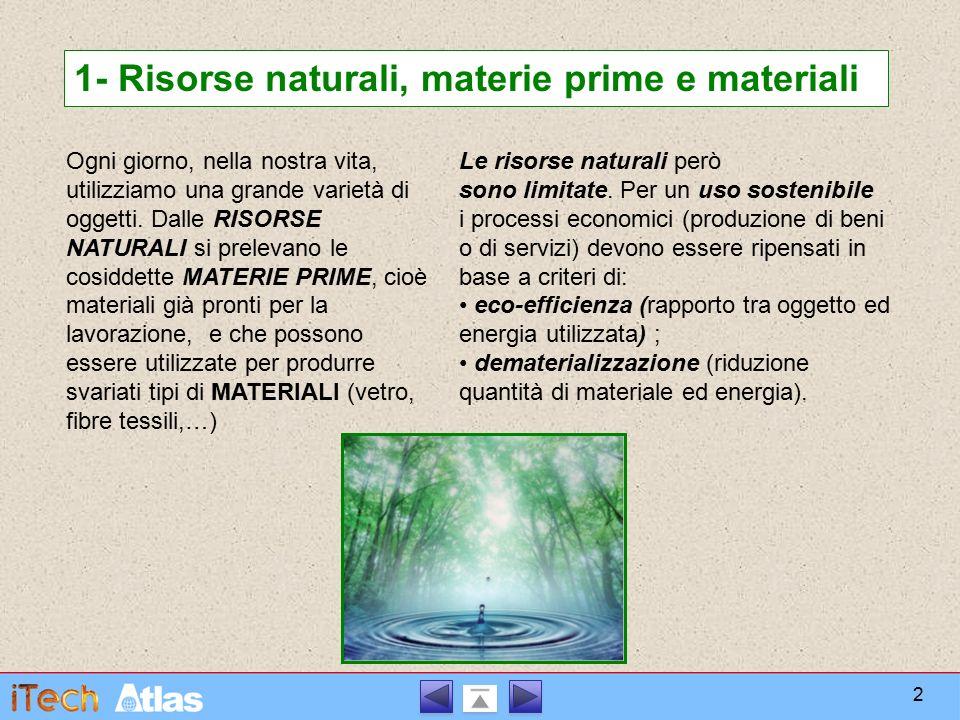 1- Risorse naturali, materie prime e materiali
