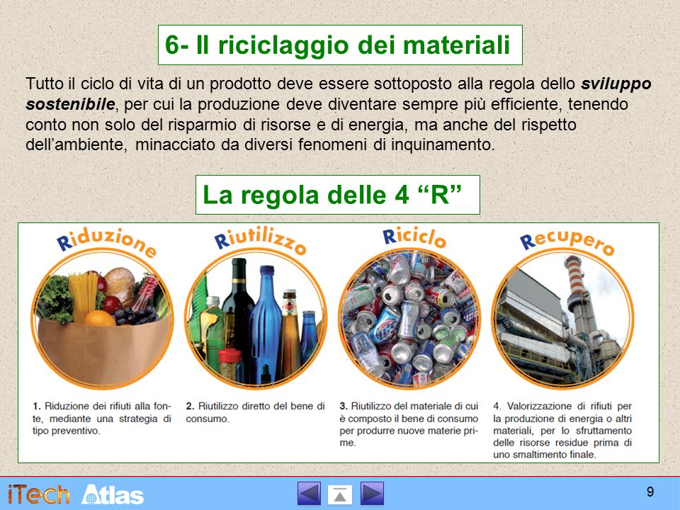 6- Il riciclaggio dei materiali