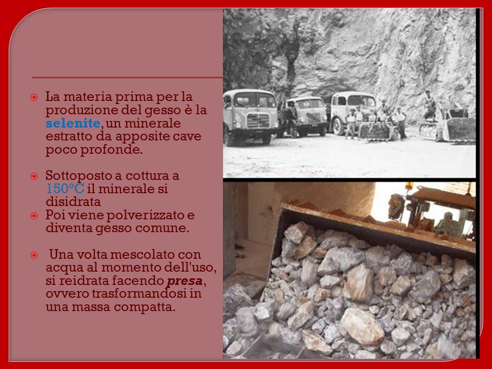 Produzione La materia prima per la produzione del gesso è la selenite, un minerale estratto da apposite cave poco profonde.