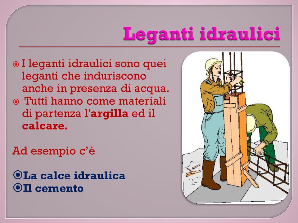 Leganti idraulici I leganti idraulici sono quei leganti che induriscono anche in presenza di acqua.