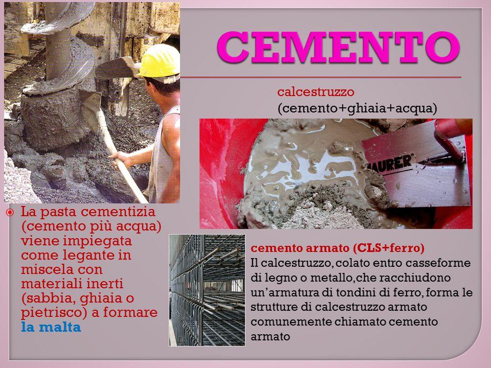 CEMENTO calcestruzzo (cemento+ghiaia+acqua)