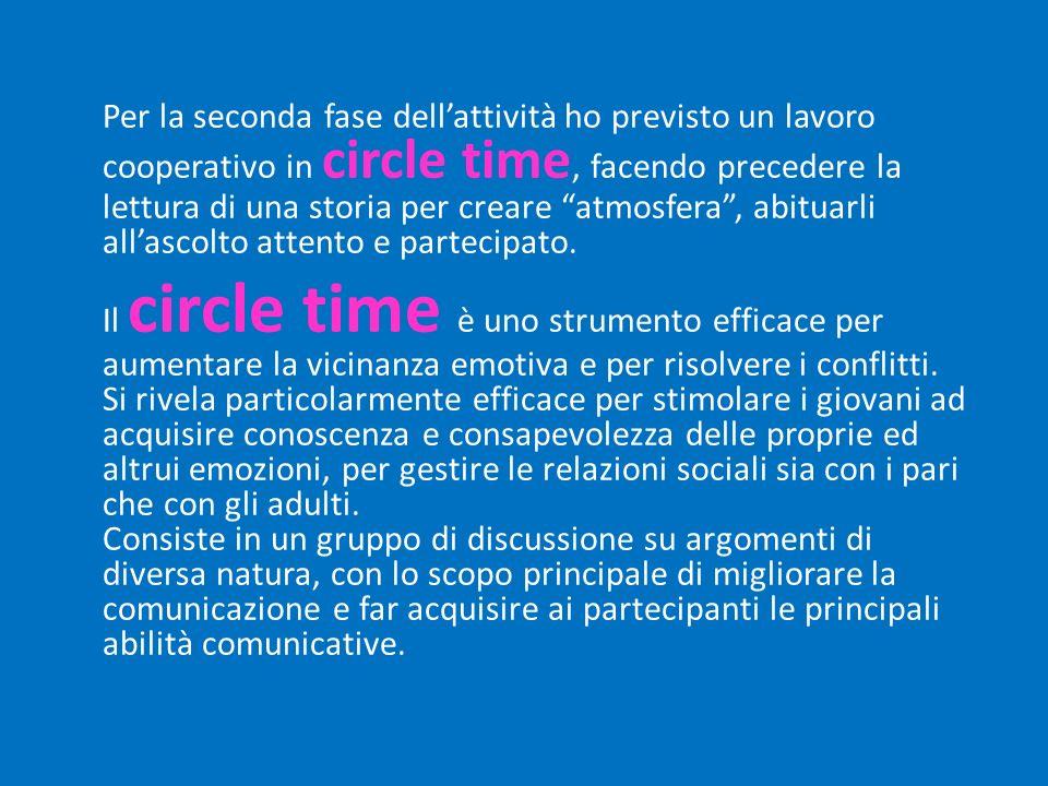 Per la seconda fase dell'attività ho previsto un lavoro cooperativo in circle time, facendo precedere la lettura di una storia per creare atmosfera , abituarli all'ascolto attento e partecipato.