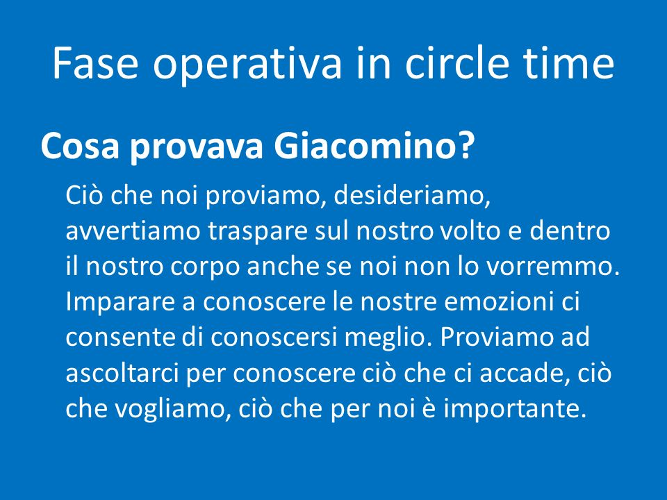 Fase operativa in circle time