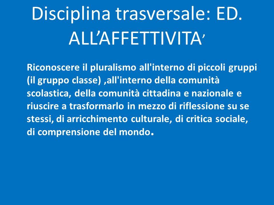 Disciplina trasversale: ED. ALL'AFFETTIVITA'