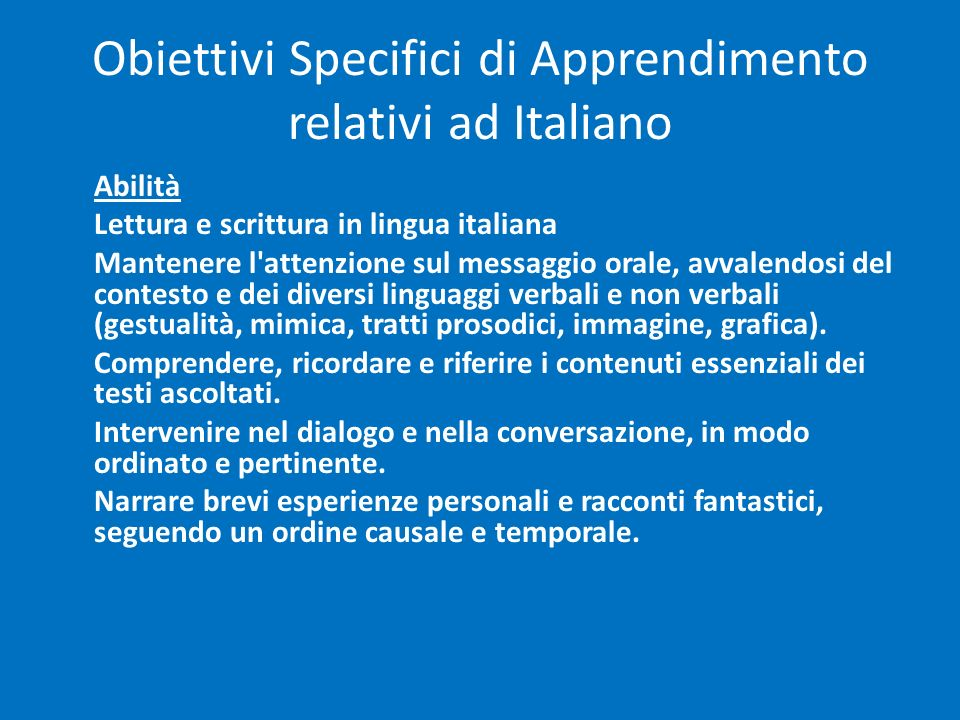 Obiettivi Specifici di Apprendimento relativi ad Italiano
