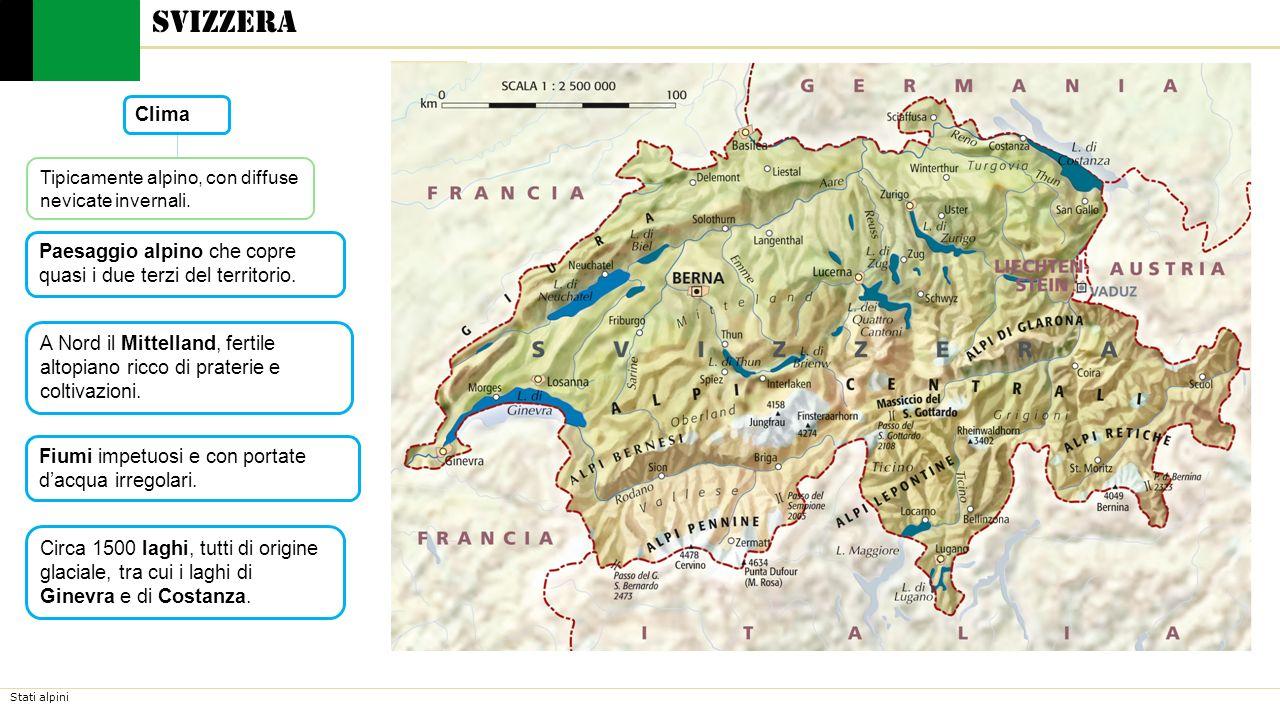 Svizzera Clima. Tipicamente alpino, con diffuse nevicate invernali. Paesaggio alpino che copre quasi i due terzi del territorio.