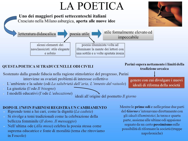 LA POETICA Uno dei maggiori poeti settecenteschi italiani