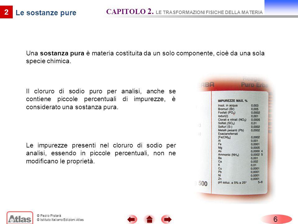 CAPITOLO 2. LE TRASFORMAZIONI FISICHE DELLA MATERIA Le sostanze pure