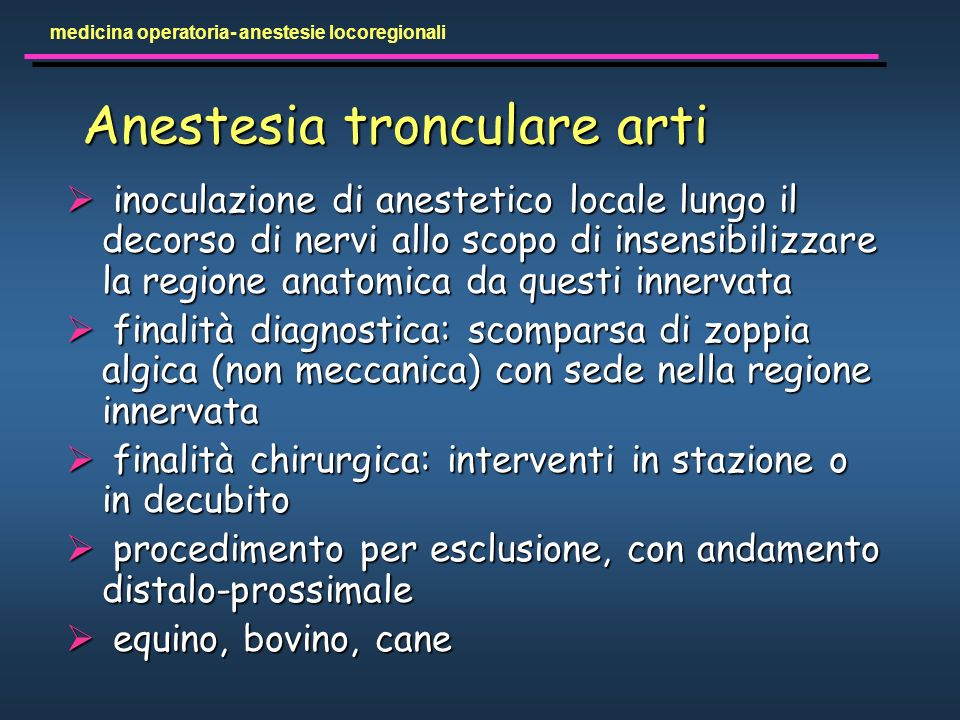 Anestesia tronculare arti