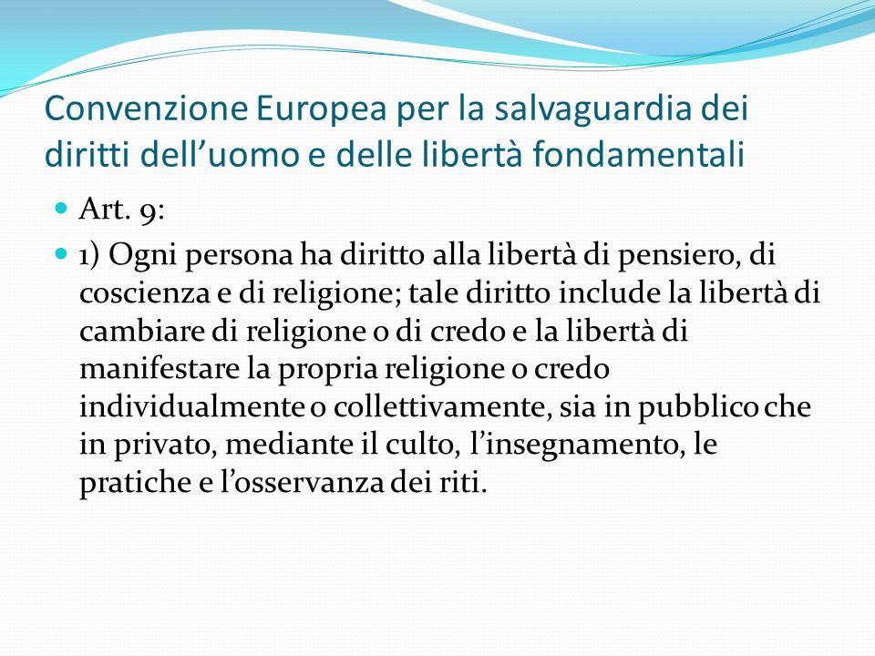 Convenzione Europea per la salvaguardia dei diritti dell'uomo e delle libertà fondamentali