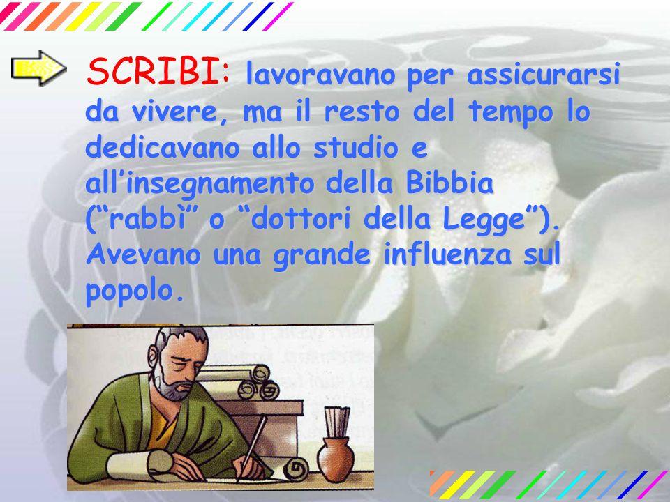 SCRIBI: lavoravano per assicurarsi da vivere, ma il resto del tempo lo dedicavano allo studio e all'insegnamento della Bibbia ( rabbì o dottori della Legge ).