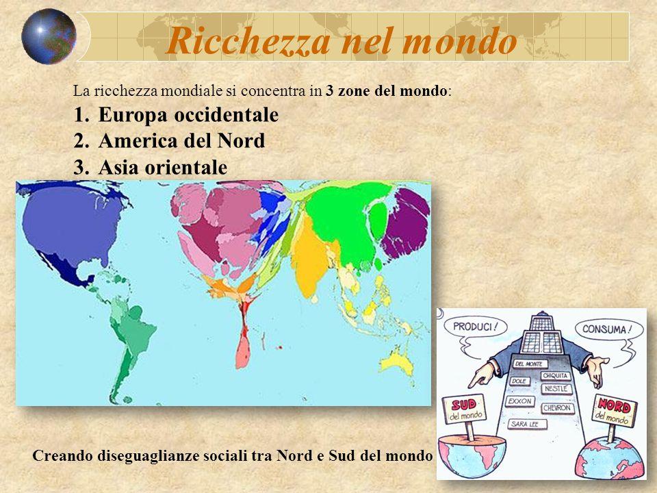 Ricchezza nel mondo Europa occidentale America del Nord Asia orientale