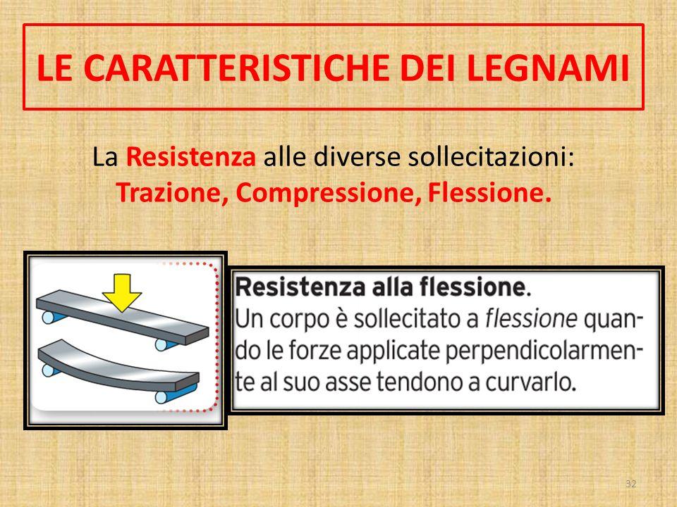 LE CARATTERISTICHE DEI LEGNAMI Trazione, Compressione, Flessione.