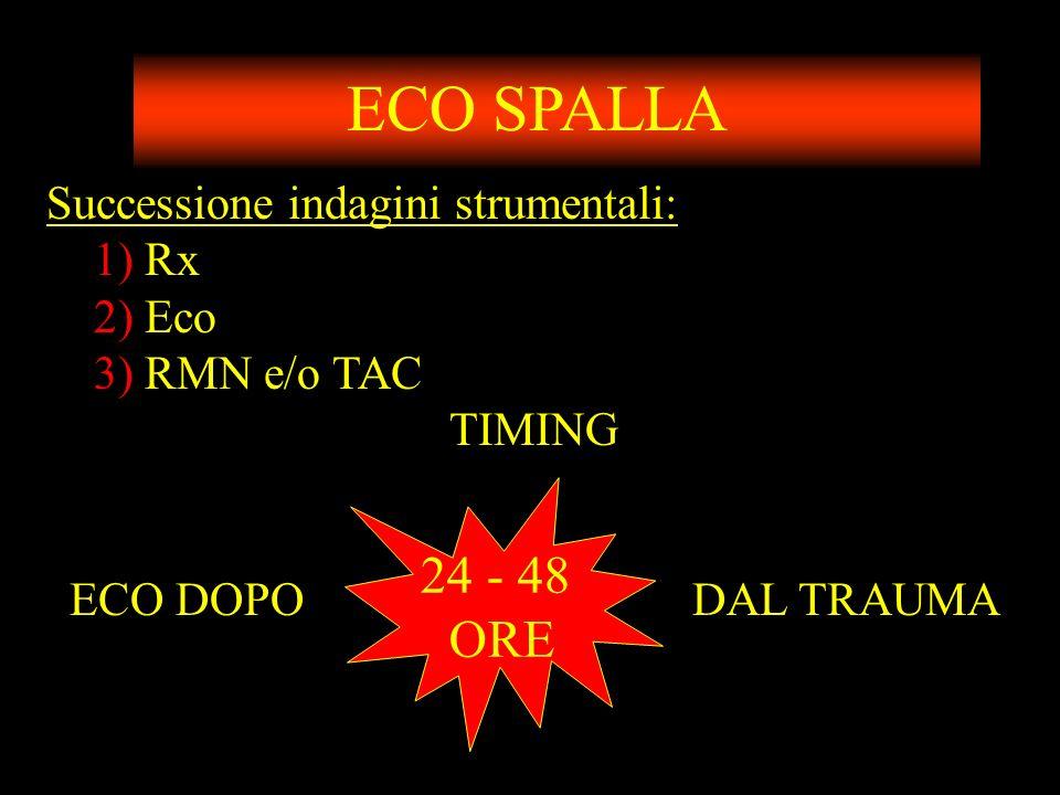 ECO SPALLA 24 - 48 ORE Successione indagini strumentali: 1) Rx 2) Eco