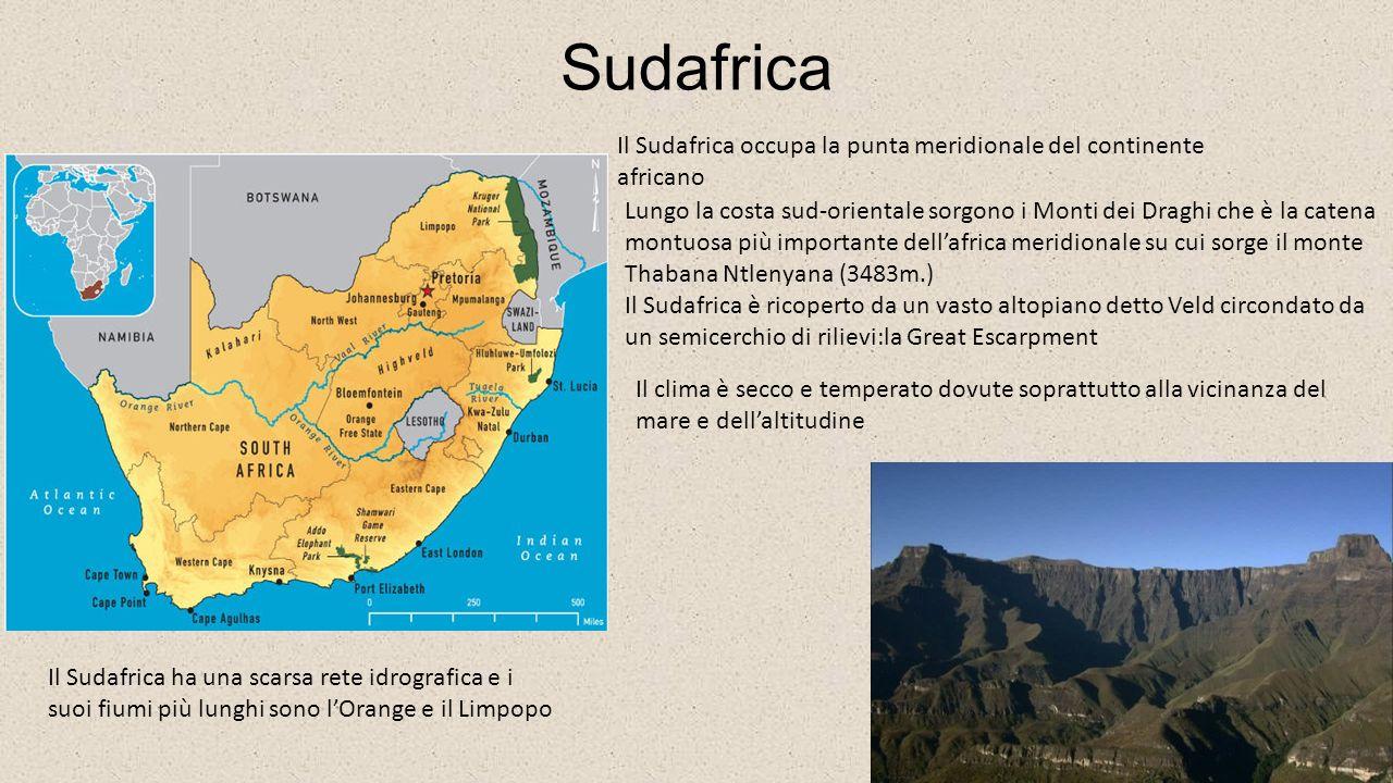Sudafrica Il Sudafrica occupa la punta meridionale del continente africano.