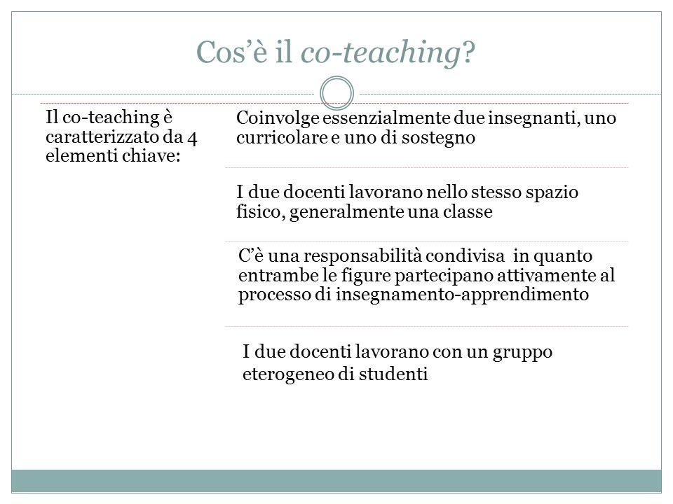 Cos'è il co-teaching Il co-teaching è caratterizzato da 4 elementi chiave: