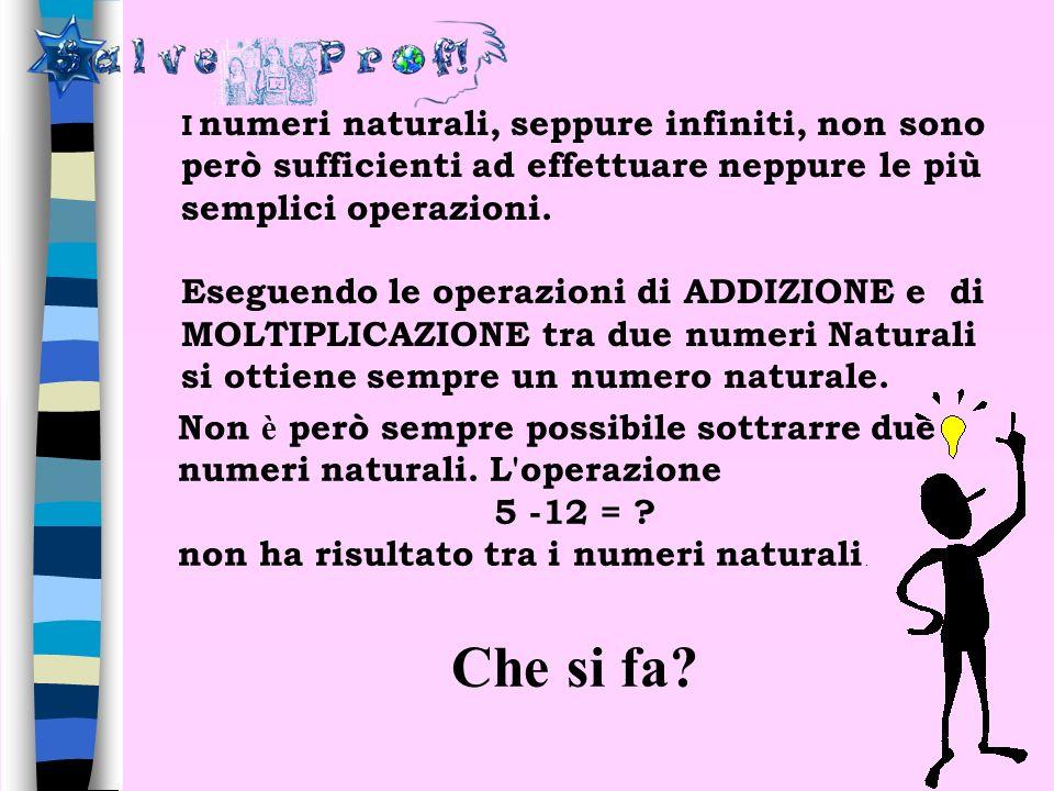 I numeri naturali, seppure infiniti, non sono però sufficienti ad effettuare neppure le più semplici operazioni.