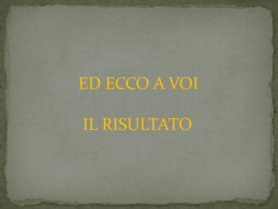ED ECCO A VOI IL RISULTATO