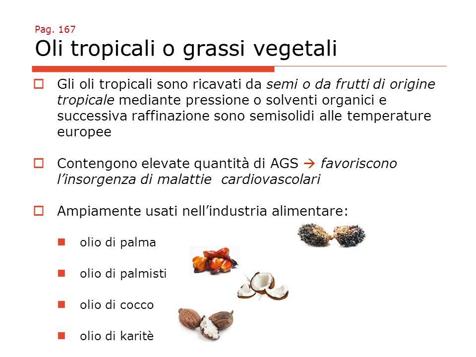 Pag. 167 Oli tropicali o grassi vegetali