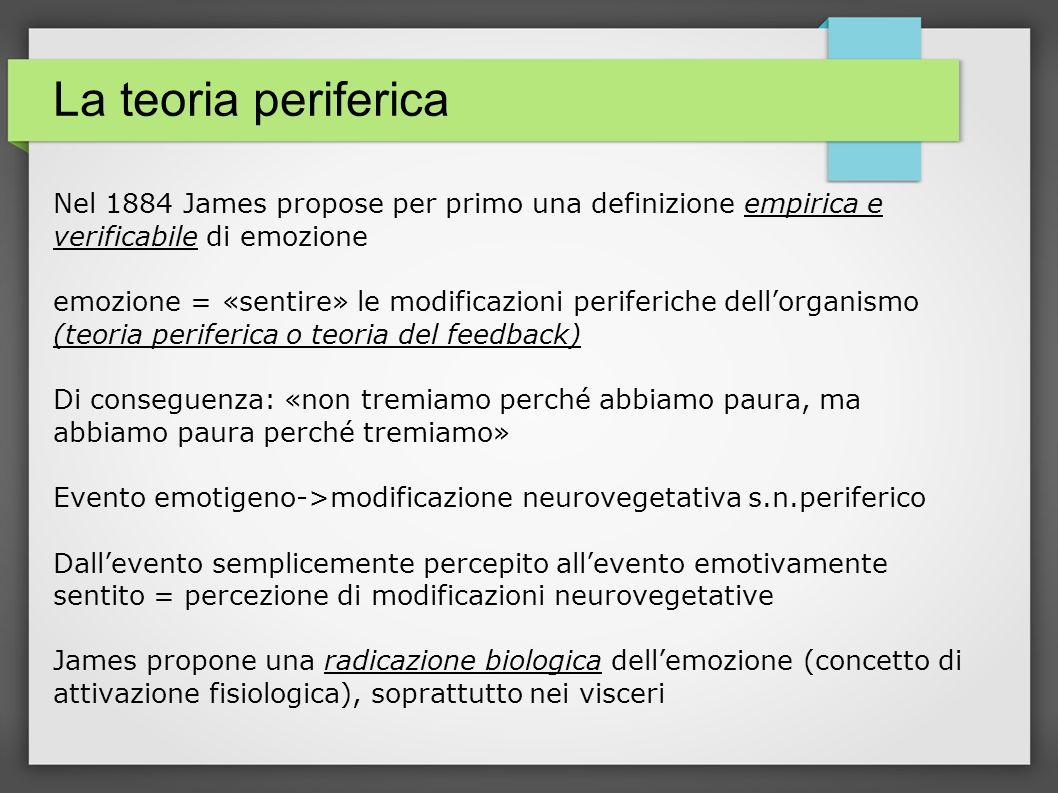 La teoria periferica Nel 1884 James propose per primo una definizione empirica e verificabile di emozione.