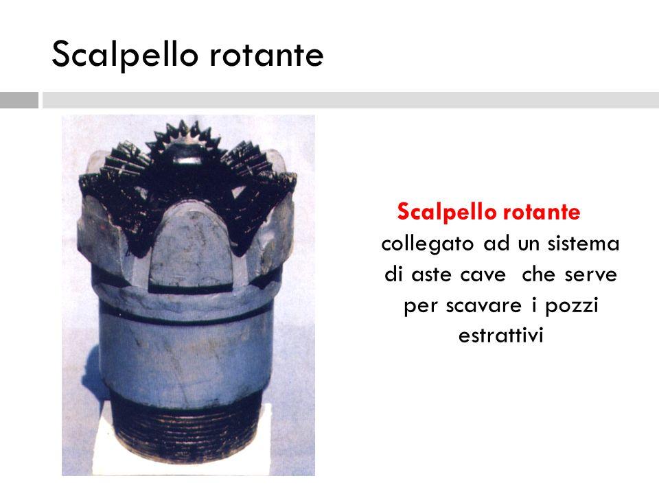 Scalpello rotante Scalpello rotante collegato ad un sistema di aste cave che serve per scavare i pozzi estrattivi.