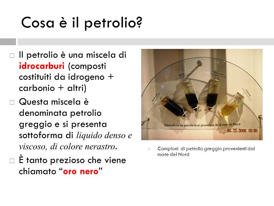 Cosa è il petrolio Il petrolio è una miscela di idrocarburi (composti costituiti da idrogeno + carbonio + altri)