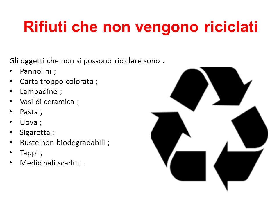 Rifiuti che non vengono riciclati