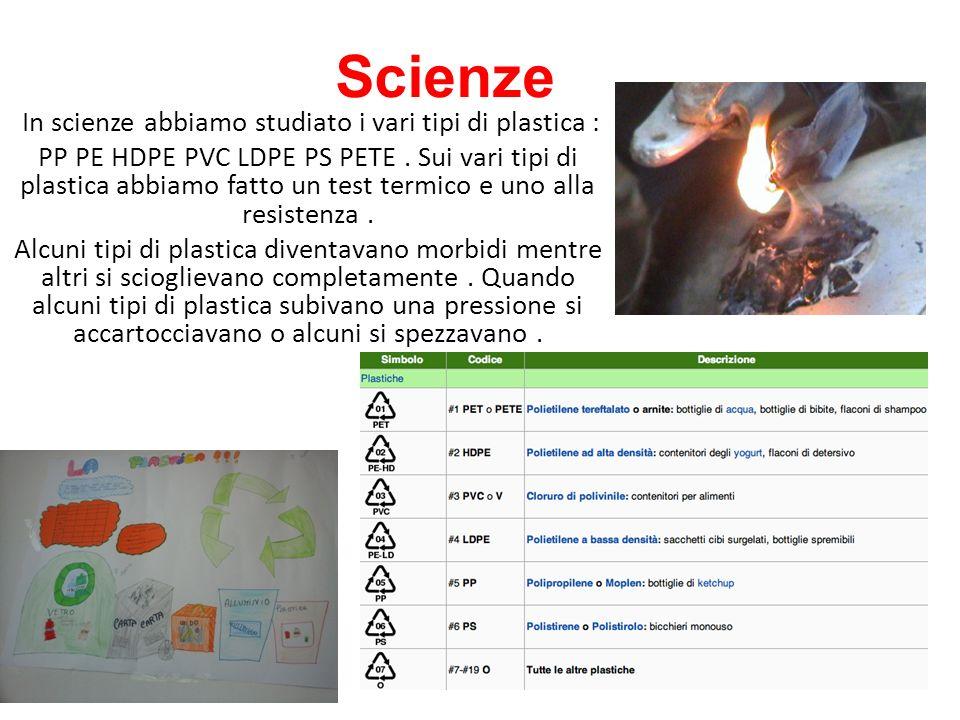 In scienze abbiamo studiato i vari tipi di plastica :