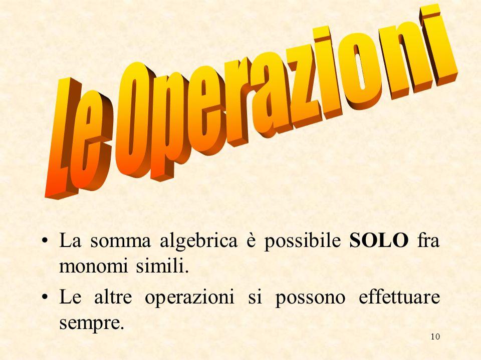 Le Operazioni La somma algebrica è possibile SOLO fra monomi simili.