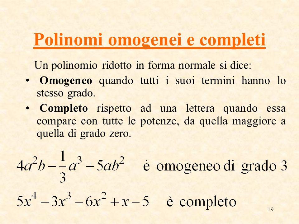 Polinomi omogenei e completi