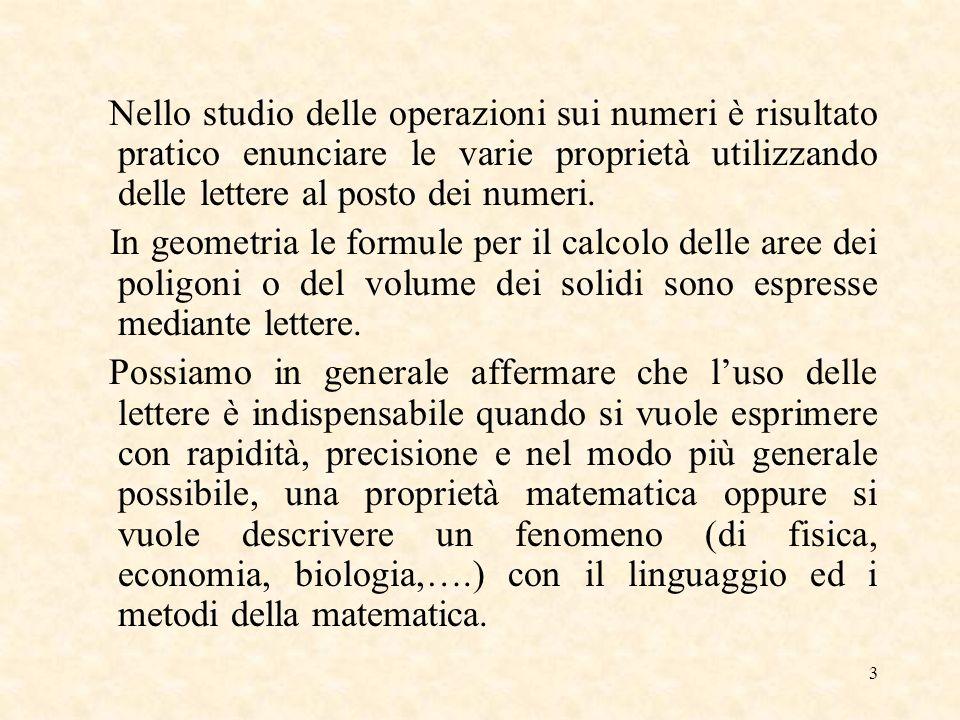 Nello studio delle operazioni sui numeri è risultato pratico enunciare le varie proprietà utilizzando delle lettere al posto dei numeri.