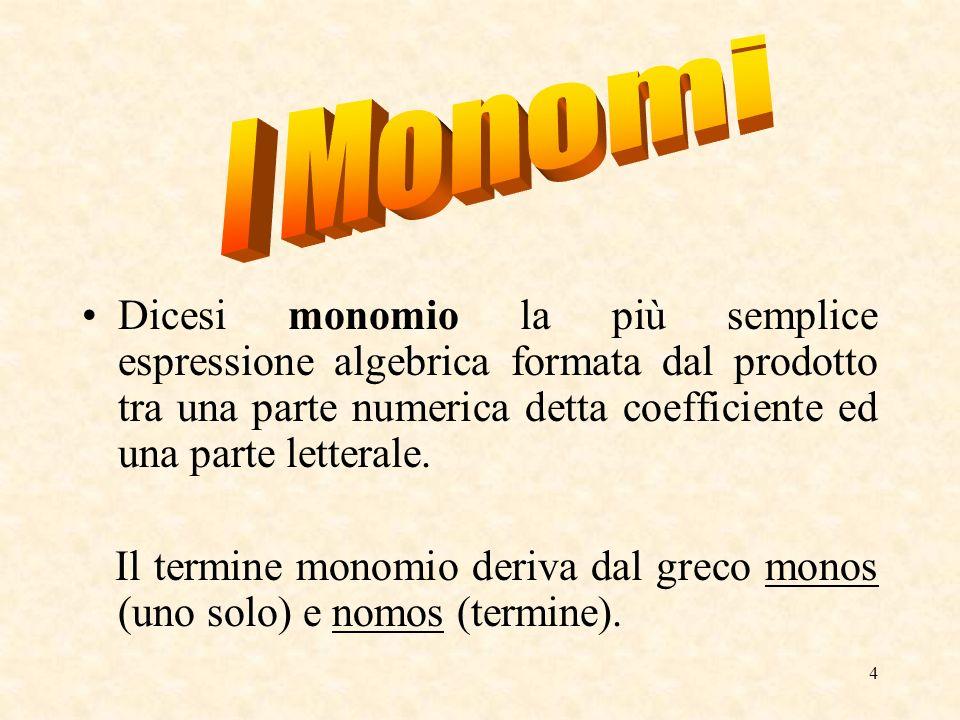 I Monomi Dicesi monomio la più semplice espressione algebrica formata dal prodotto tra una parte numerica detta coefficiente ed una parte letterale.