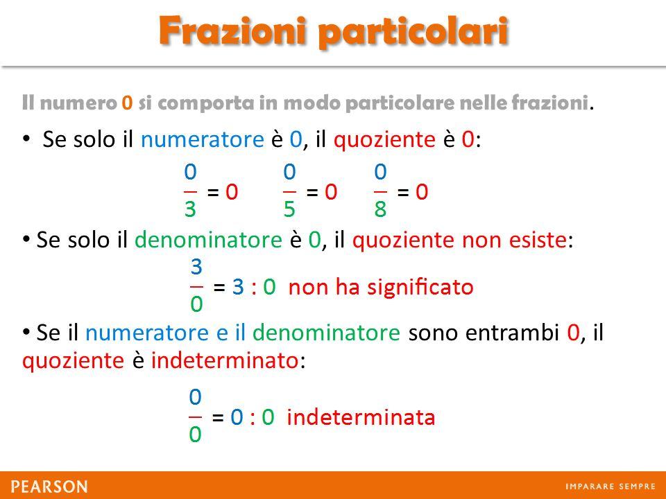 Frazioni particolari Se solo il numeratore è 0, il quoziente è 0: