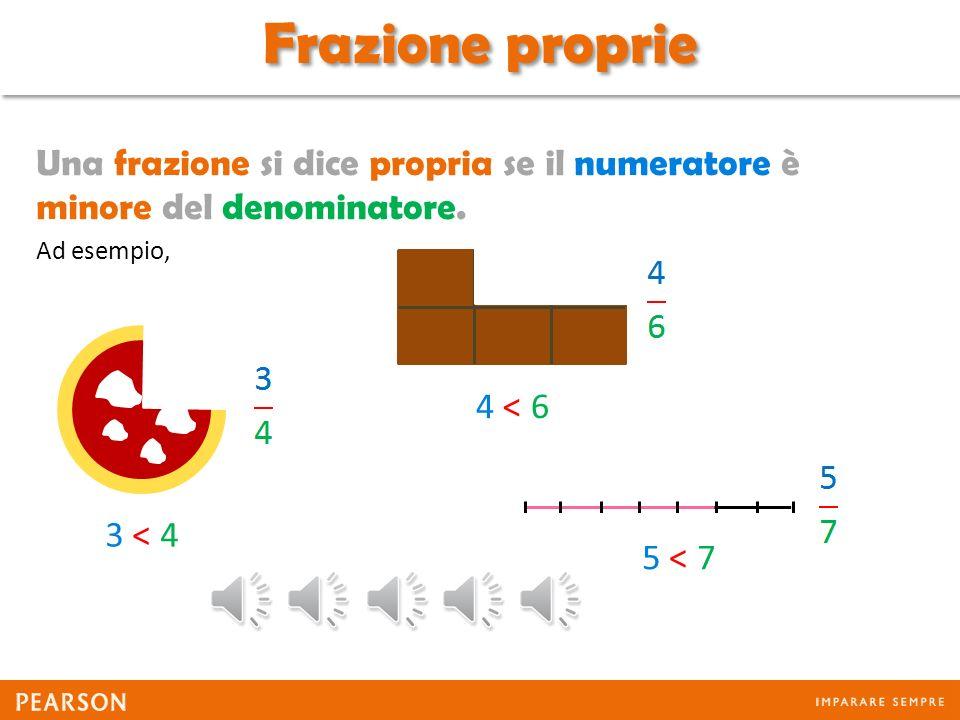 Frazione proprie Una frazione si dice propria se il numeratore è minore del denominatore. Ad esempio,