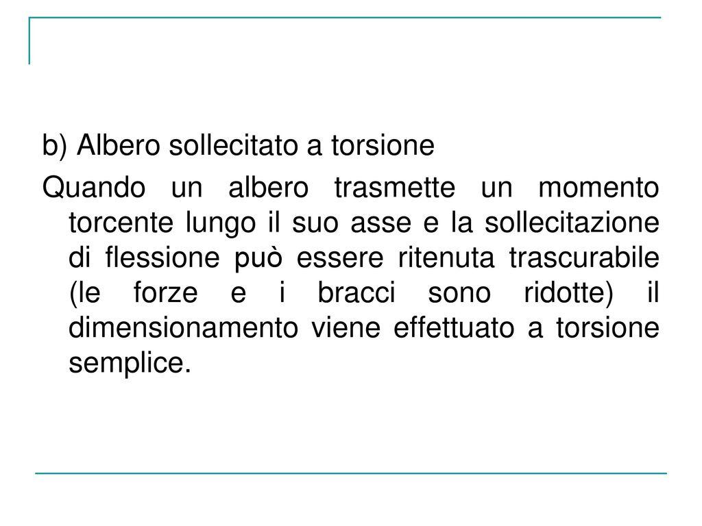 b) Albero sollecitato a torsione