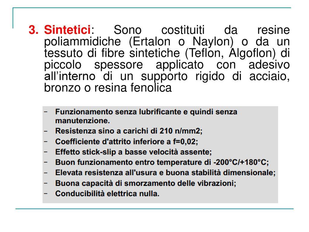 Sintetici: Sono costituiti da resine poliammidiche (Ertalon o Naylon) o da un tessuto di fibre sintetiche (Teflon, Algoflon) di piccolo spessore applicato con adesivo all'interno di un supporto rigido di acciaio, bronzo o resina fenolica