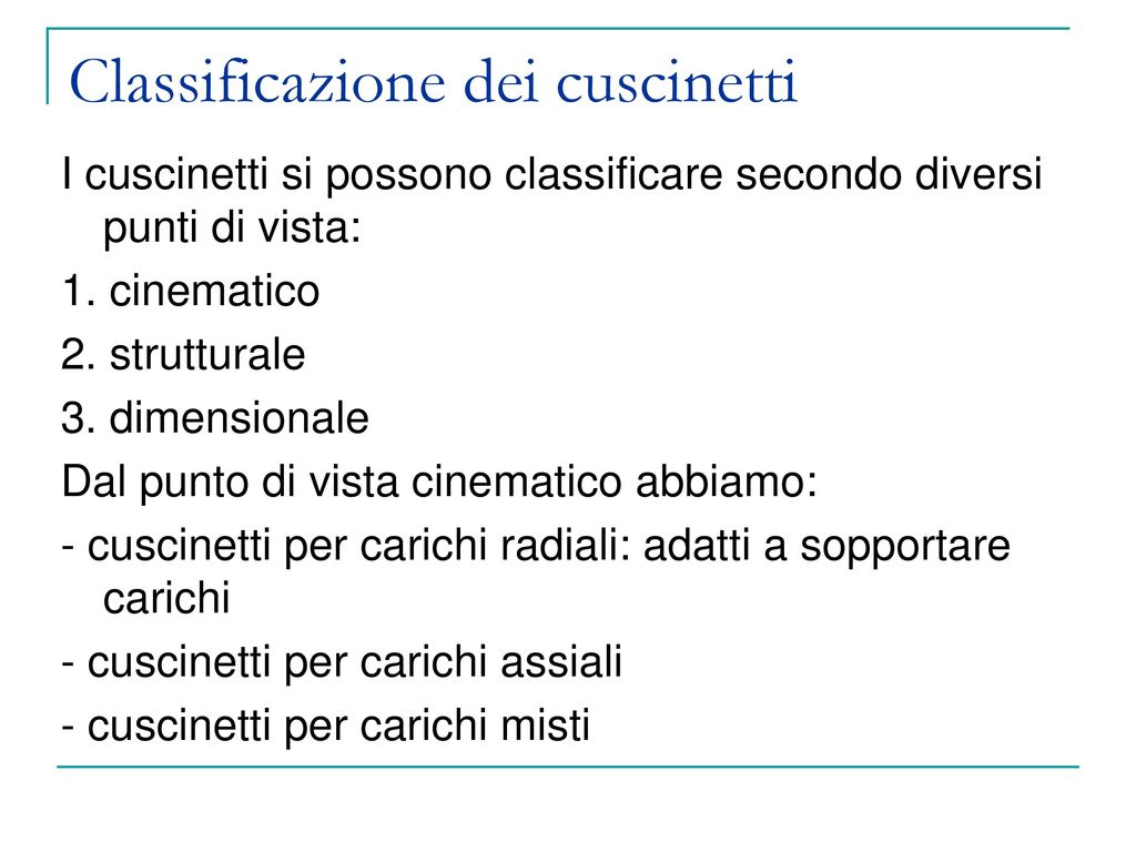 Classificazione dei cuscinetti