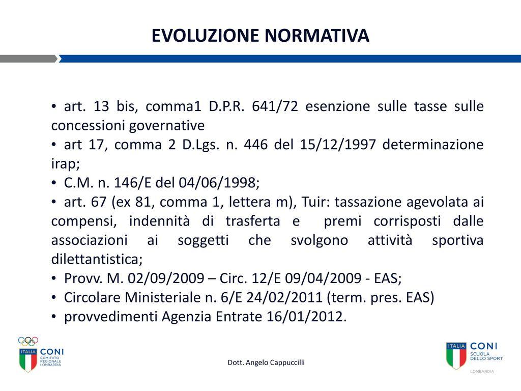 Gestione economica di una asd convegno fiscale ppt scaricare - Art 16 bis del tuir ...