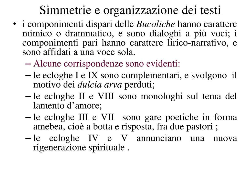 Simmetrie e organizzazione dei testi